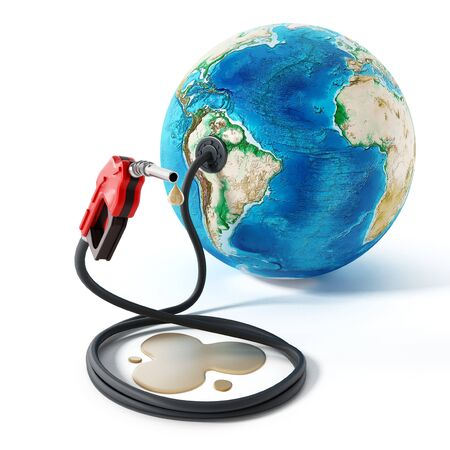 global environment: Gas pump and hose connected to the earth. 3D illustration.