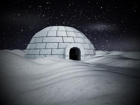 Iglo op een sneeuwvliegtuig staan. 3D illustratie.