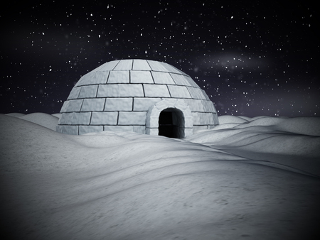 Igloo standing on snowy plane. 3D illustration. Stock Photo