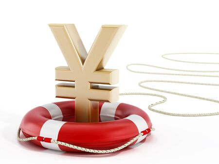 lifebelt: Golden yen symbol on lifebelt. 3D illustration. Stock Photo