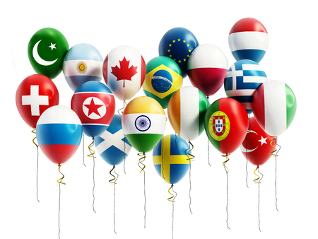 swiss flag: Flying balloons of various countries. 3D illustration.