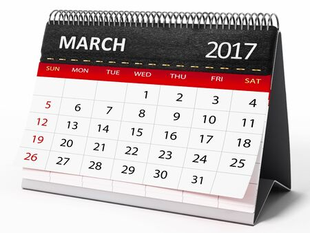 event calendar: March 2017 desktop calendar isolated on white background. 3D illustration.