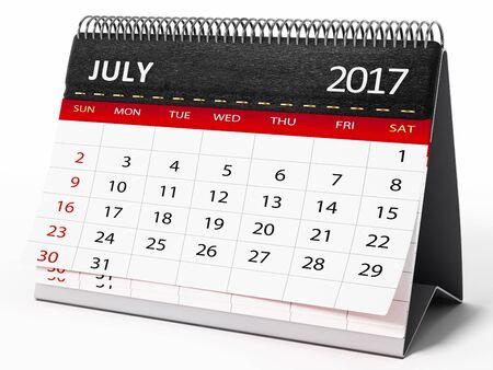 calendario julio: De julio de 2017 calendario de escritorio aislado en el fondo blanco. Ilustración 3D.