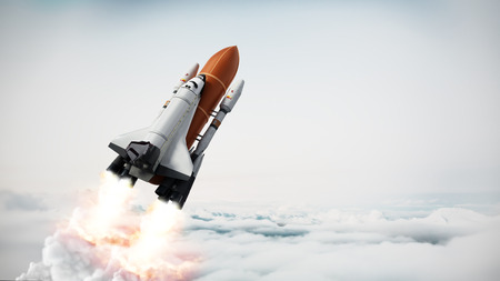 Rocket carrying space shuttle launches off. 3D illustration. 스톡 콘텐츠