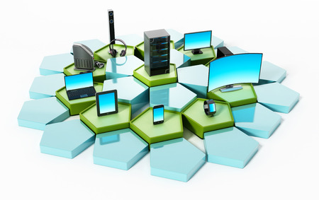 pentagon: Network with pentagon tiles connecting electronic devices. 3D illustration.
