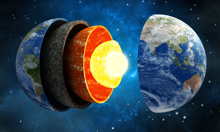 earth core: 3D illustration showing layers of the Earth in space.