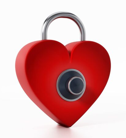 Locked red heart with dial. 3D illustration. Stock Photo