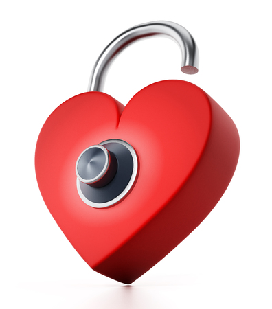 Unlocked red heart with dial. 3D illustration.