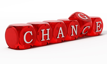 Chance word turning to change. 3D illustration. Stockfoto