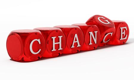 Chance word turning to change. 3D illustration. Archivio Fotografico
