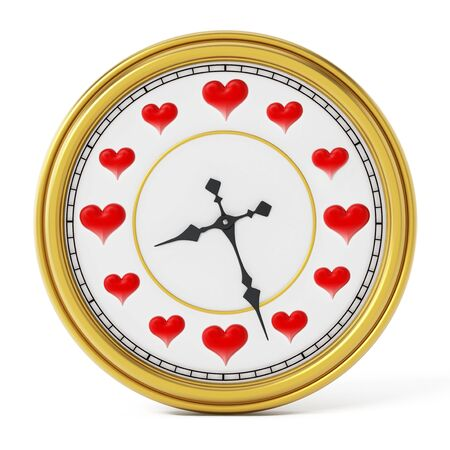 instead: Red hearts on clock instead of numbers. 3D illustration. Stock Photo