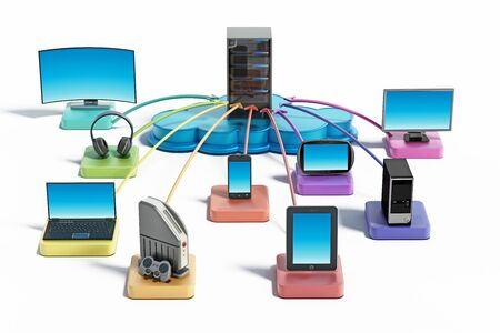 Electronic devices with smart functionalites connected to the cloud network. 3D illustration.
