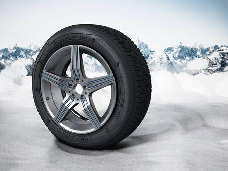 snow tires: Winter tyre standing on snow. 3D illustration.