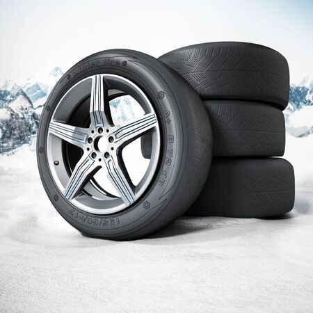 snow tires: Winter tyres standing on snow. 3D illustration.