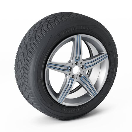 snow tires: Winter tyre isolated on white background. 3D illustration.