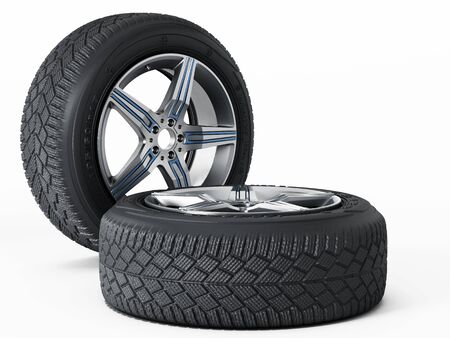 snow tires: Winter tyres isolated on white background. 3D illustration.