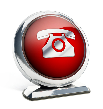 phone button: Glossy red button with phone symbol. 3D illustration.