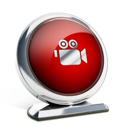 camera symbol: Glossy red button with camera symbol. 3D illustration.