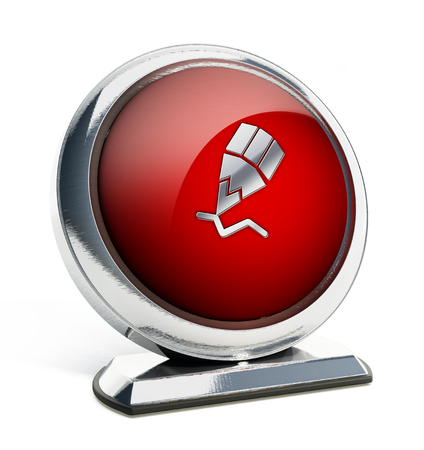 office tool: Glossy red button with pencil symbol. 3D illustration. Stock Photo