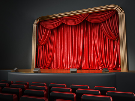 theatrical performance: Theater room with red seatings. 3D illustration. Stock Photo