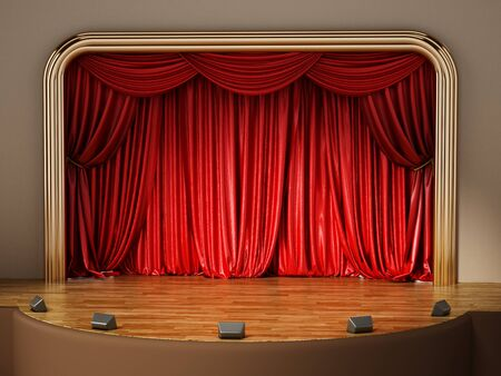 theatrical performance: Theater stage with closed red curtain. 3D illustration.