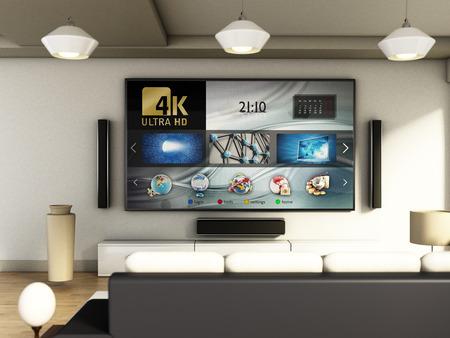 Modern 4K smart TV room with large windows and parquet floor. 3D illustration. Stock Illustration - 69796540
