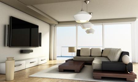 livingroom: Modern 4K smart TV room with large windows and parquet floor. 3D illustration.