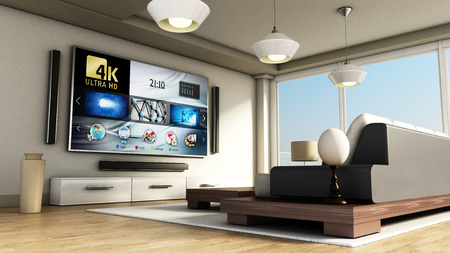 Modern 4K smart TV room with large windows and parquet floor. 3D illustration. Stock Illustration - 69796545