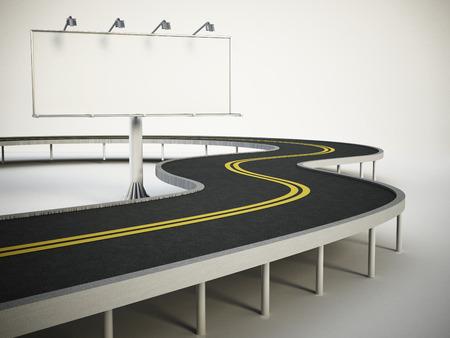 advert: Blank billboard standing next to highway. 3D illustration. Stock Photo