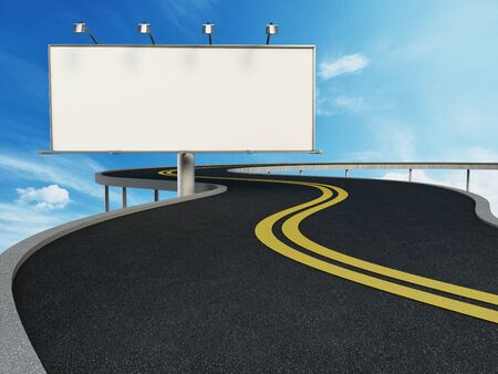 highway: Blank billboard standing next to highway. 3D illustration. Stock Photo