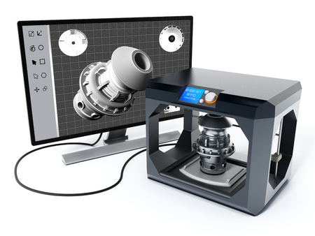 3 D 製品設計ソフトウェアと 3 D プリンター。3 D イラスト。