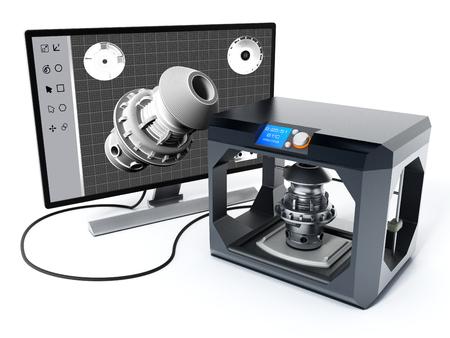 3D product design software and 3D printer. 3D illustration. Foto de archivo