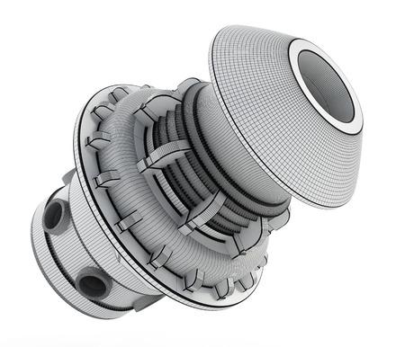 3D wireframe industrial product design. 3D illustration.