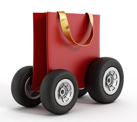 shopping bag: Shopping bag with wheels. Speed delivery concept. 3D illustration. Stock Photo
