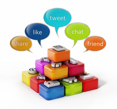 tweet icon: Speech balloons and application software cubes. 3D illustration. Stock Photo