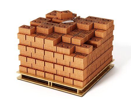 Stack Of Bricks Isolated On White Background 3D Illustration Stock Photo