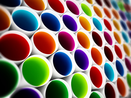 yellow lab: Multi colored plastic tubes background. 3D illustration. Stock Photo