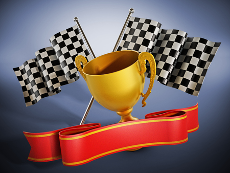 Gold cup, checkered flags and red ribbon. 3D illustration.