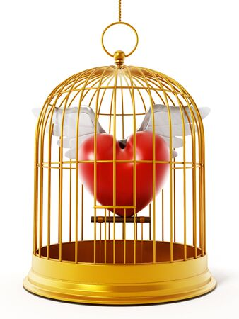 captivity: Gold bird cage with winged heart isolated on white background. 3D illustration.