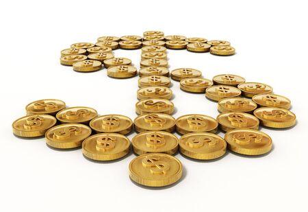 dollar symbol: Gold coins forming dollar symbol. 3D illustration.