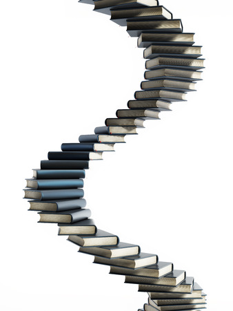 Spiral staircase shaped multi colored books. 3D illustration. Stock Photo