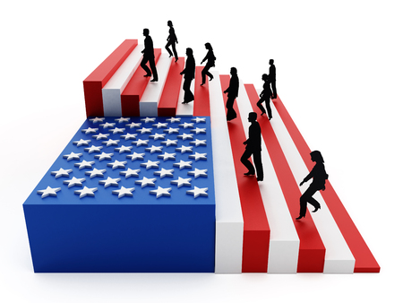 freedom woman: American flag with stripes arranged as ladders. 3D illustration. Stock Photo
