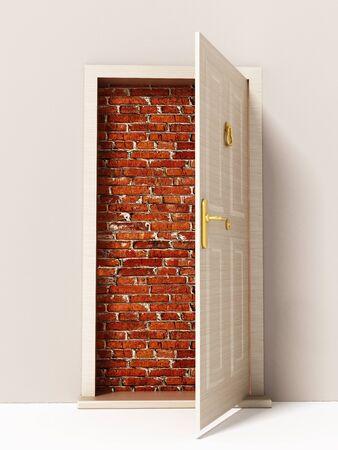 Open door leading to brick wall. 3D illustration. Stock Photo