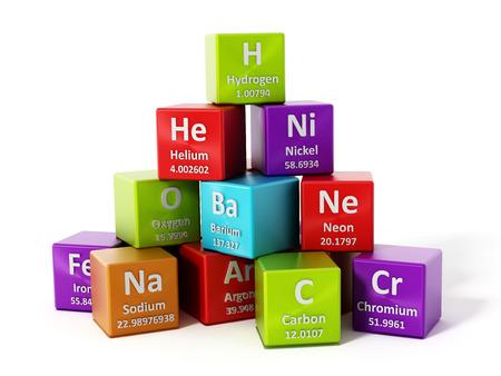 Periodiek systeem elementen op een witte achtergrond. 3D-afbeelding.