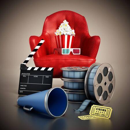 Red seat, pop corn, film reel and slate. 3D illustration