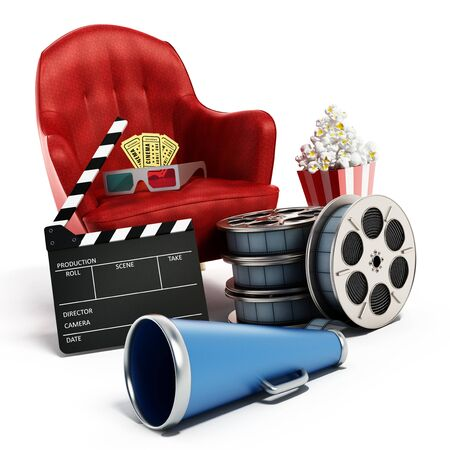 Red seat, pop corn, film reel and slate. 3D illustration