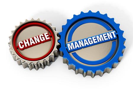 Change management gears. 3D illustration