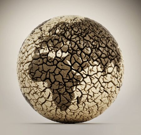 dry land: Deserted earth with cracked soil. 3D illustration Stock Photo