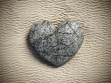 heart of stone: Stone heart standing on beach sand. 3D illustration