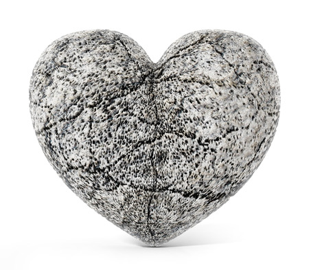 grey backgrounds: Stone heart isolated on white background. 3D illustration